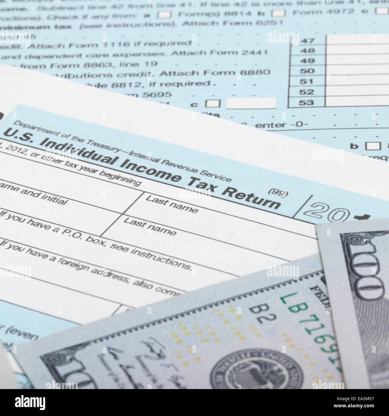 Irs Tax Form Money Stock Photos & Irs Tax Form Money Stock Images ...