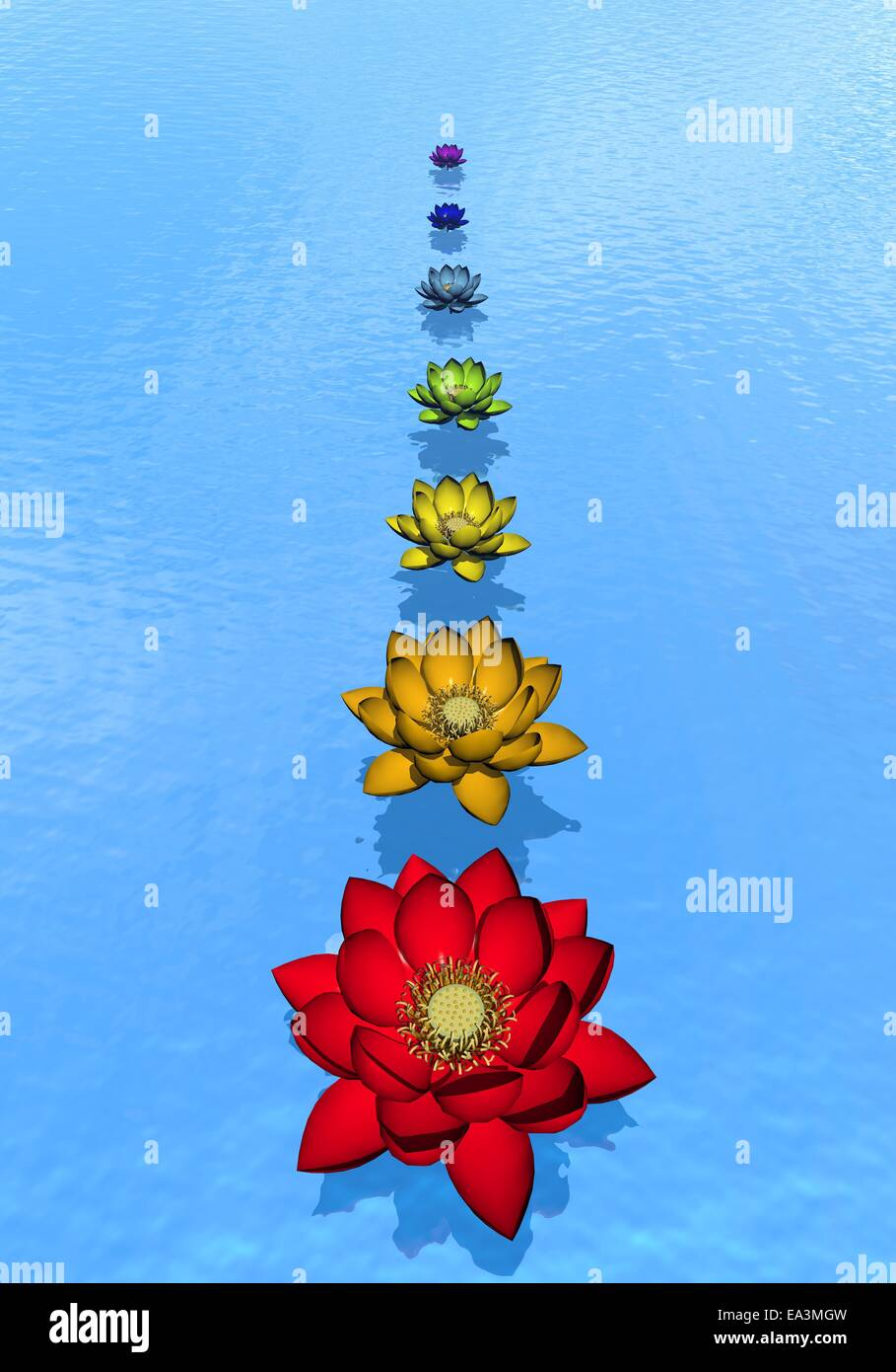 Chakra lily flowers - 3D render - Stock Image