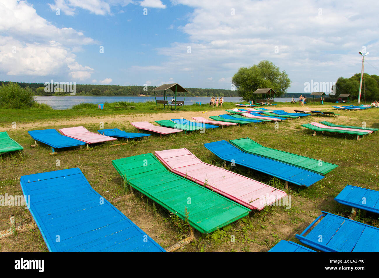 Chaise lounges on beach of the Volga river, Tver region, Russia - Stock Image