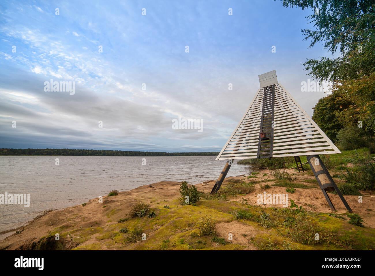 Coastal navigation sign, Volga River, Tver region, Russia - Stock Image