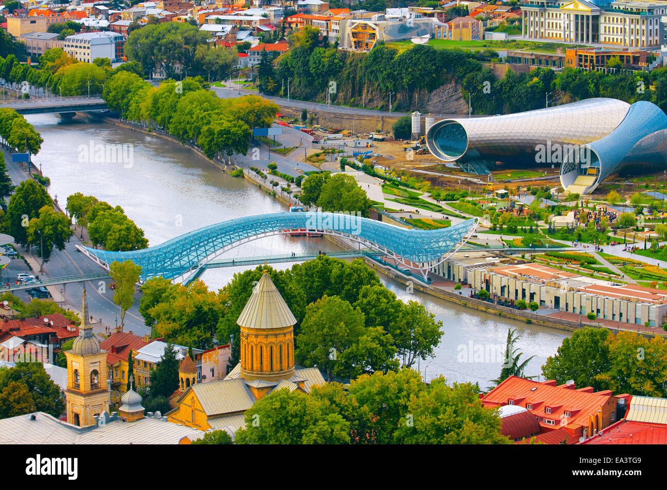 Beautiful view of river and Bridge of Peace in Tbilisi, Georgia Stock Photo