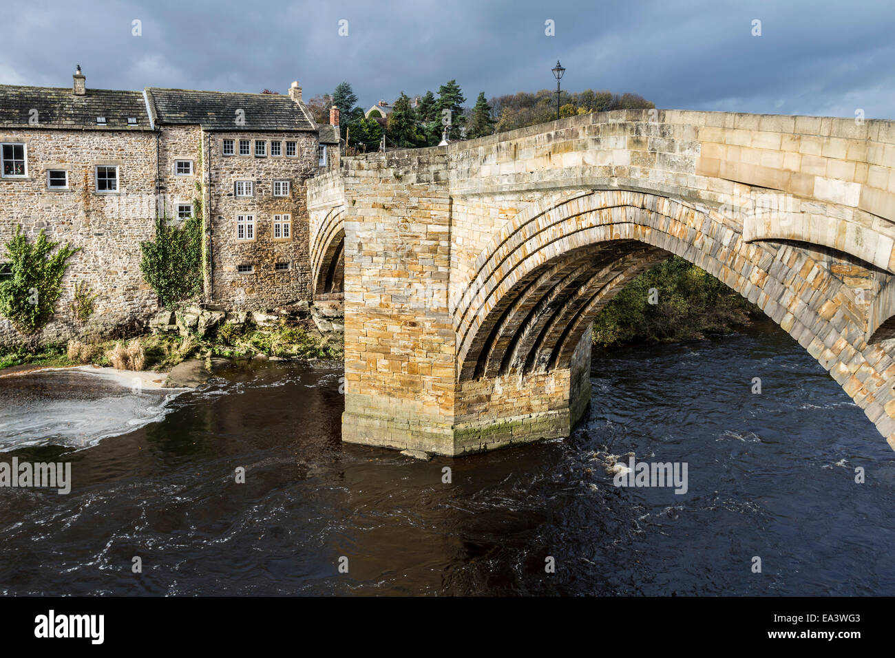 The County Bridge Over the River Tees Between Barnard Castle and Startforth, Teesdale County Durham UK - Stock Image