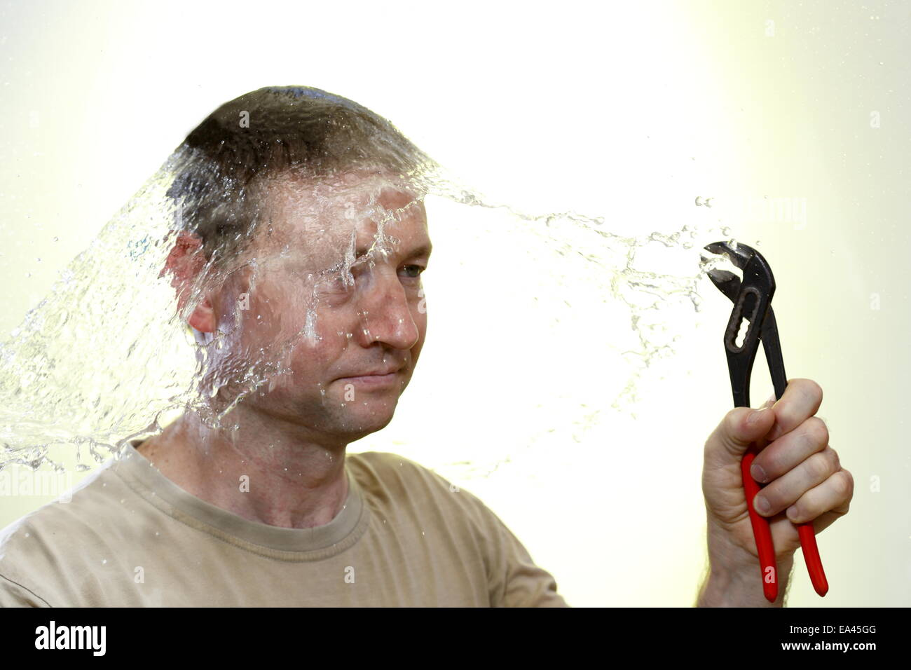 bursting of pipes - Stock Image