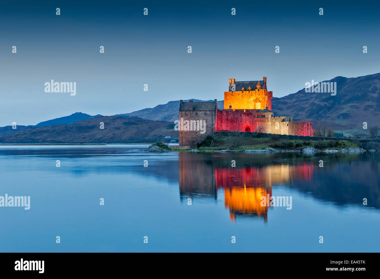 EILEAN DONAN CASTLE WITH EVENING LIGHTS FOR ARMISTICE DAY NOVEMBER 11 2014 - Stock Image
