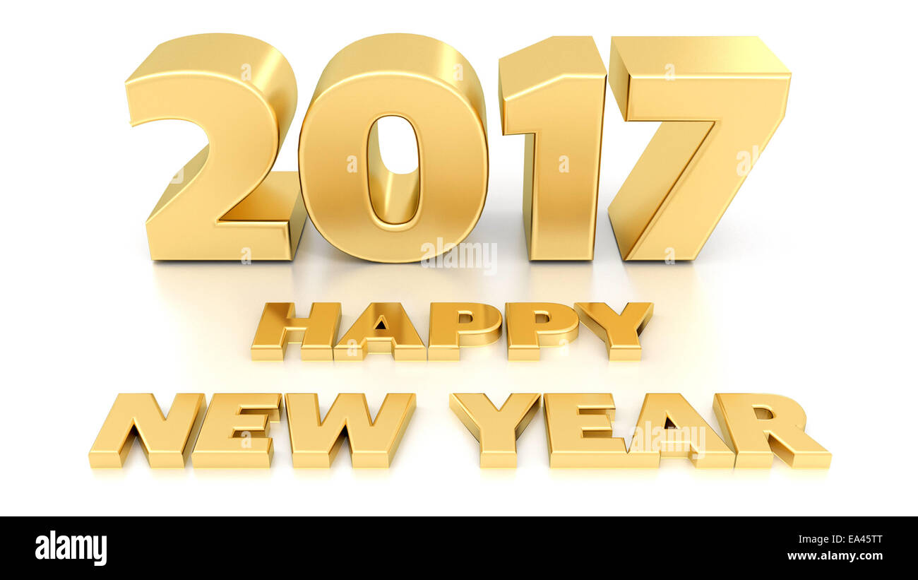 happy new year 2017 isolated 3d design template on white background