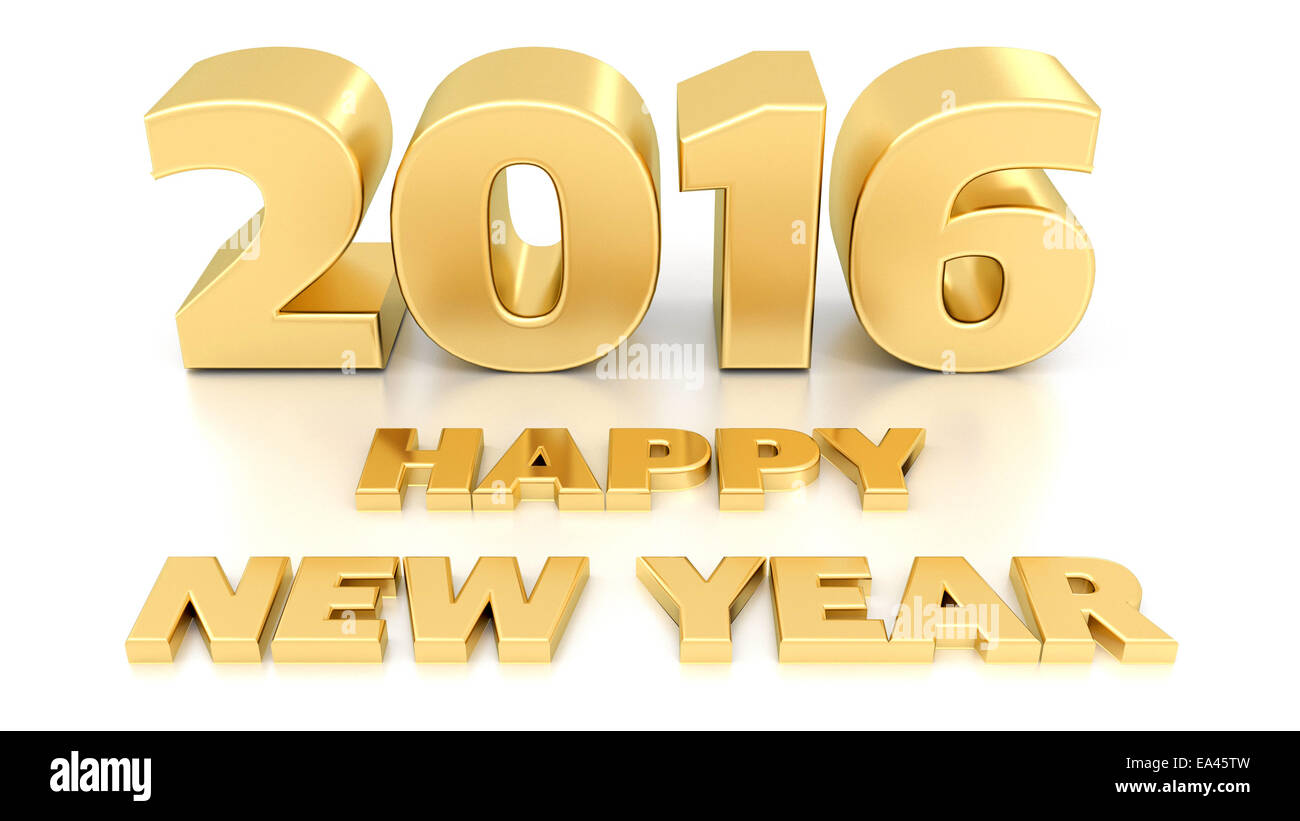 happy new year 2016 isolated 3d design template on white background