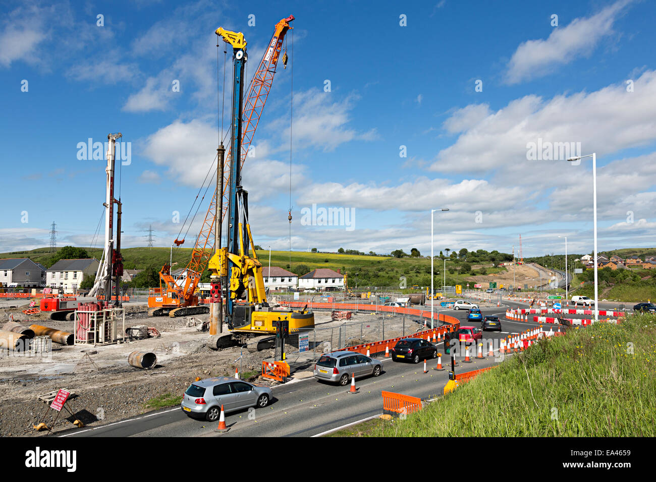 Roadworks during rebuilding the Heads of the Valleys A465 Road with temporary roundabout, Trefil, Wales, UK - Stock Image