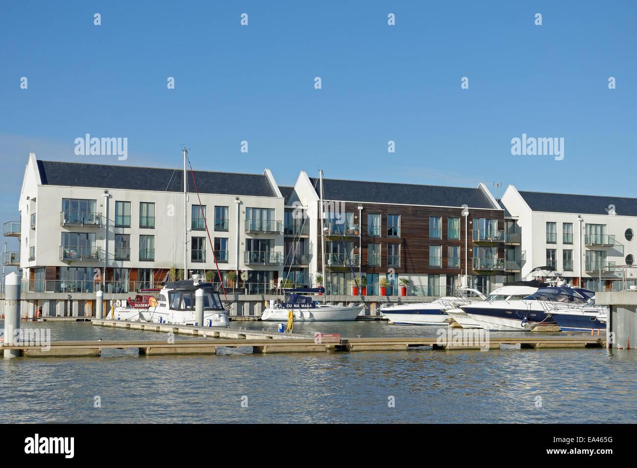 Waterside luxury apartments at Waterside Marina, Brightlingsea,Essex,UK - Stock Image