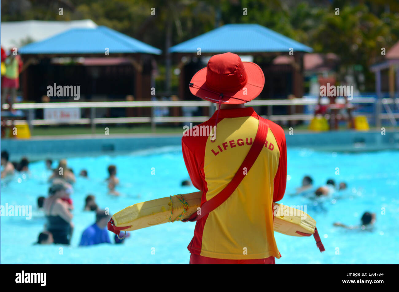 GOLD COAST, AUS - OCT 30 2014:Australian Lifeguard in Wet'n'Wild Gold Coast Australia.They are world-renown - Stock Image