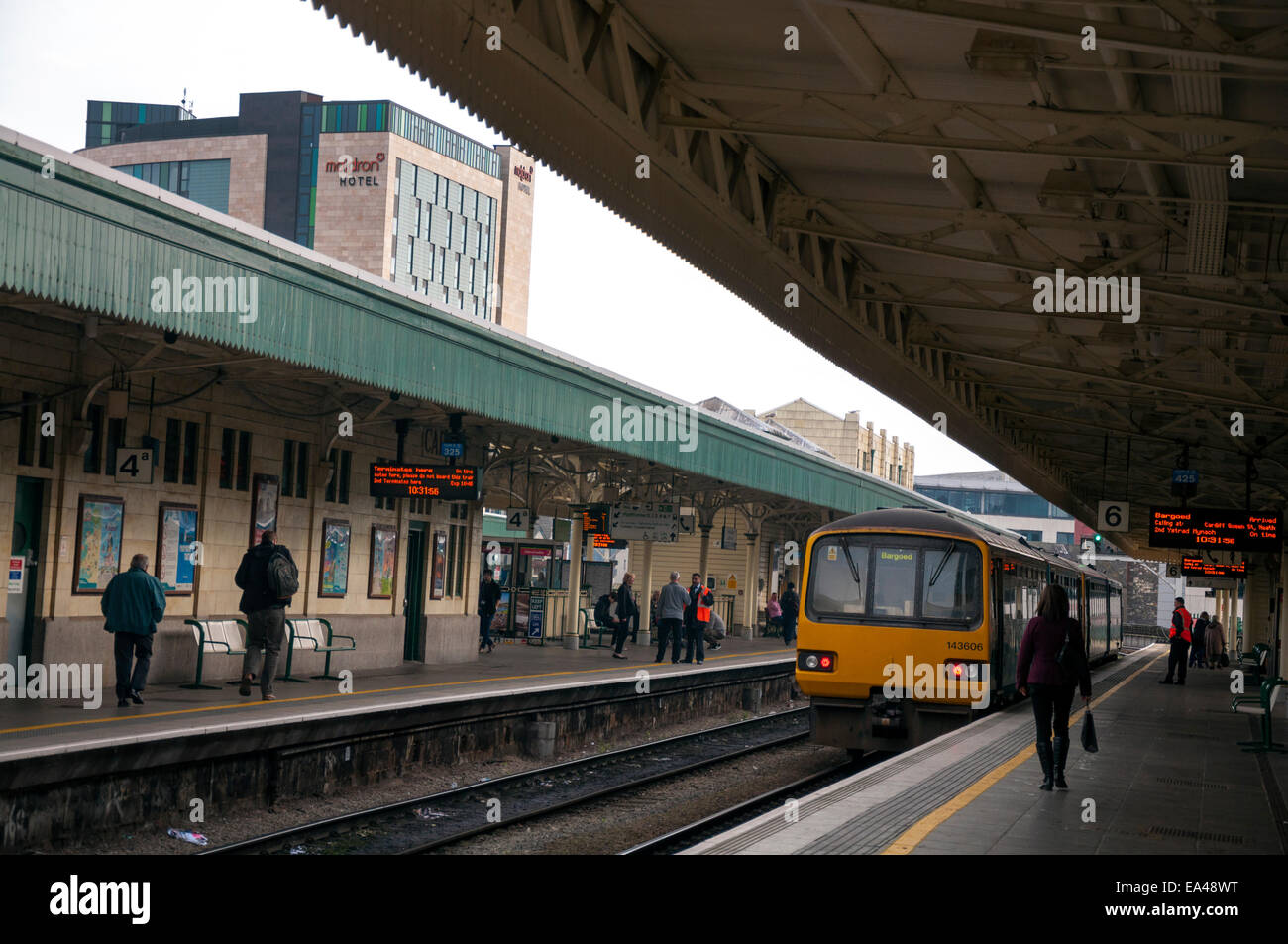 Passengers at Cardiff Central Station in Wales UK - Stock Image