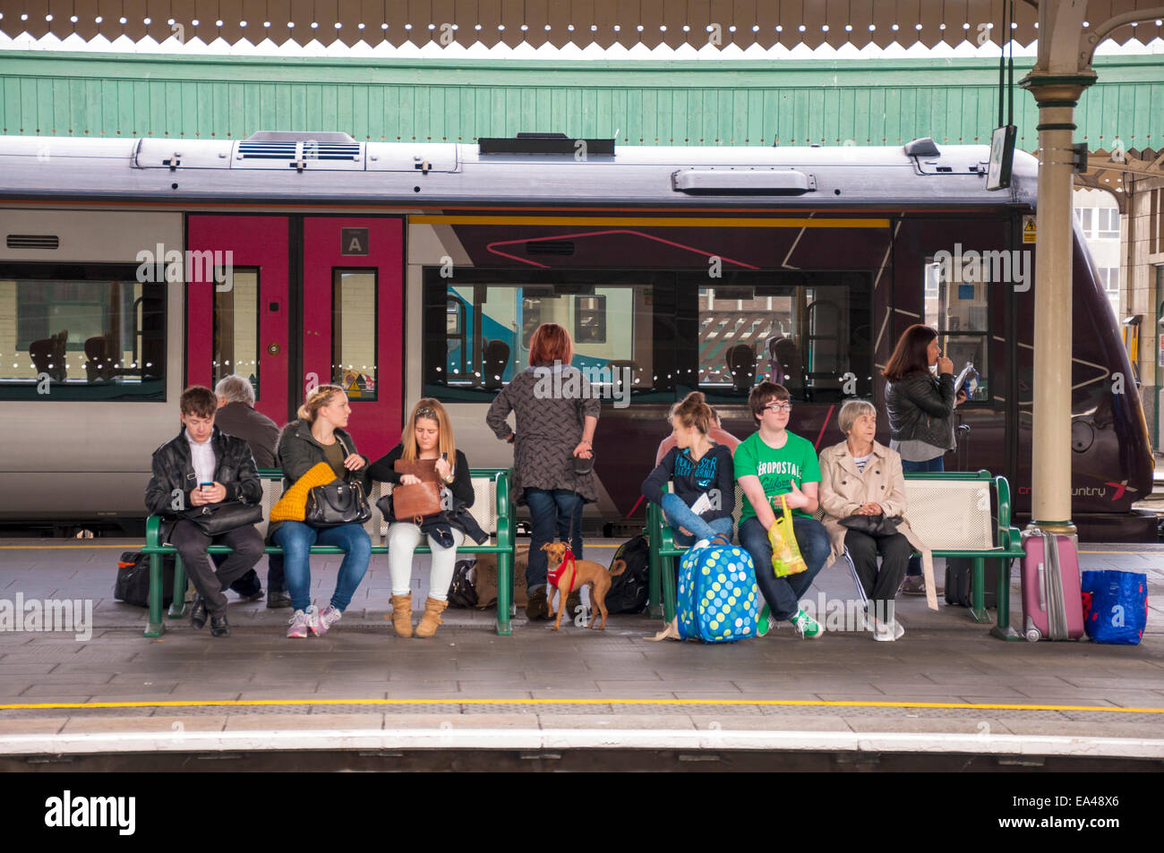 Passengers at Cardiff Central Station in Wales UK Stock Photo