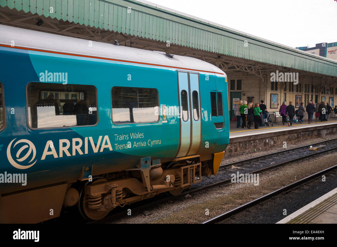 Arriva local commuter train stands at Cardiff Central Station in Wales UK Stock Photo