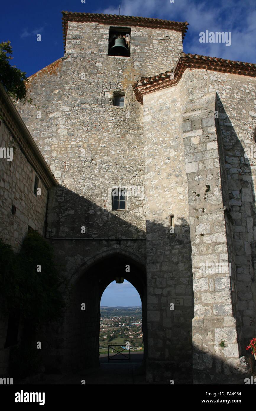 St Nicolas bell tower Pujols Lot-et-Garonne France - Stock Image