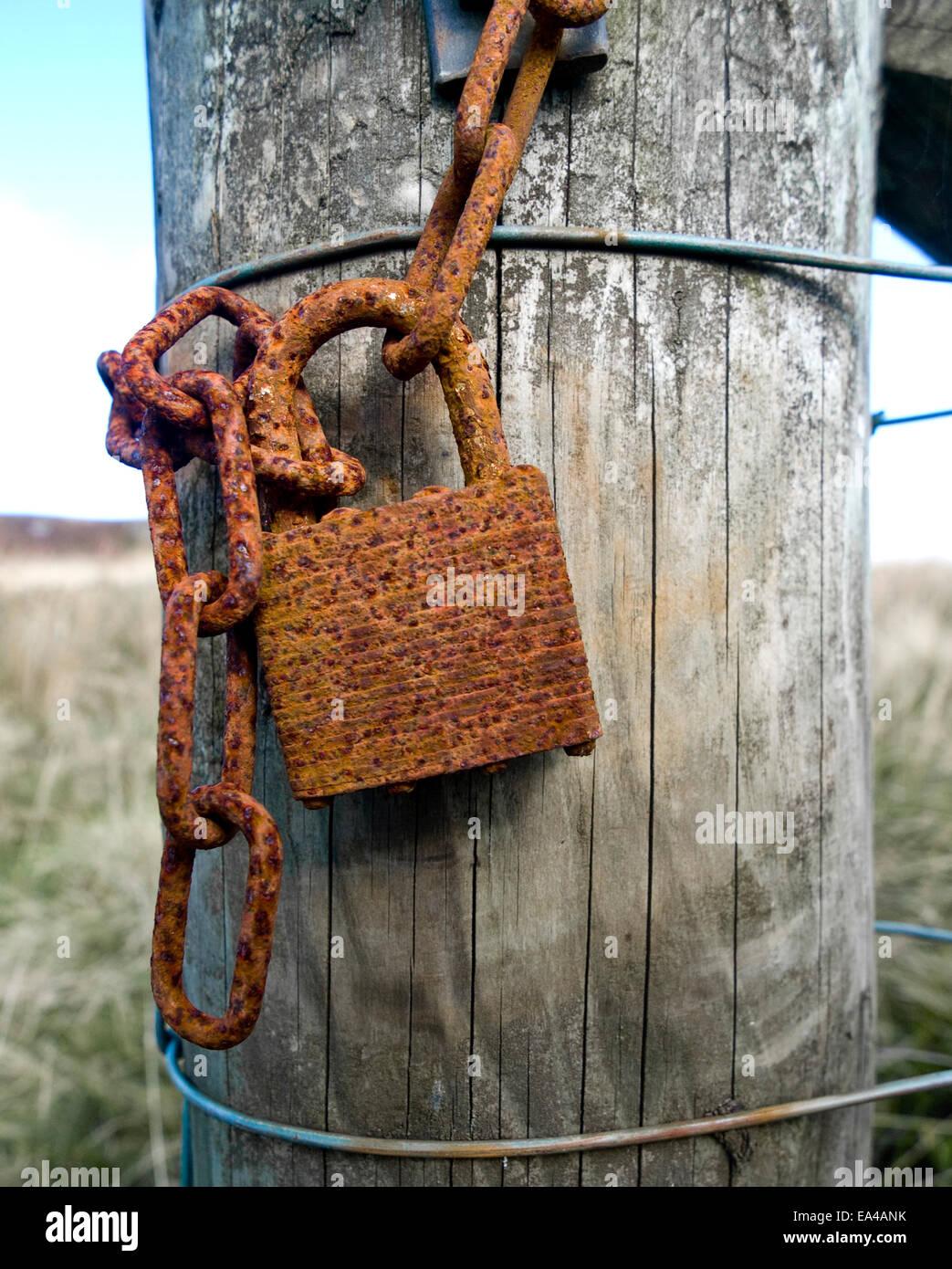 rusting padlock on Derbyshire gatepost - Stock Image