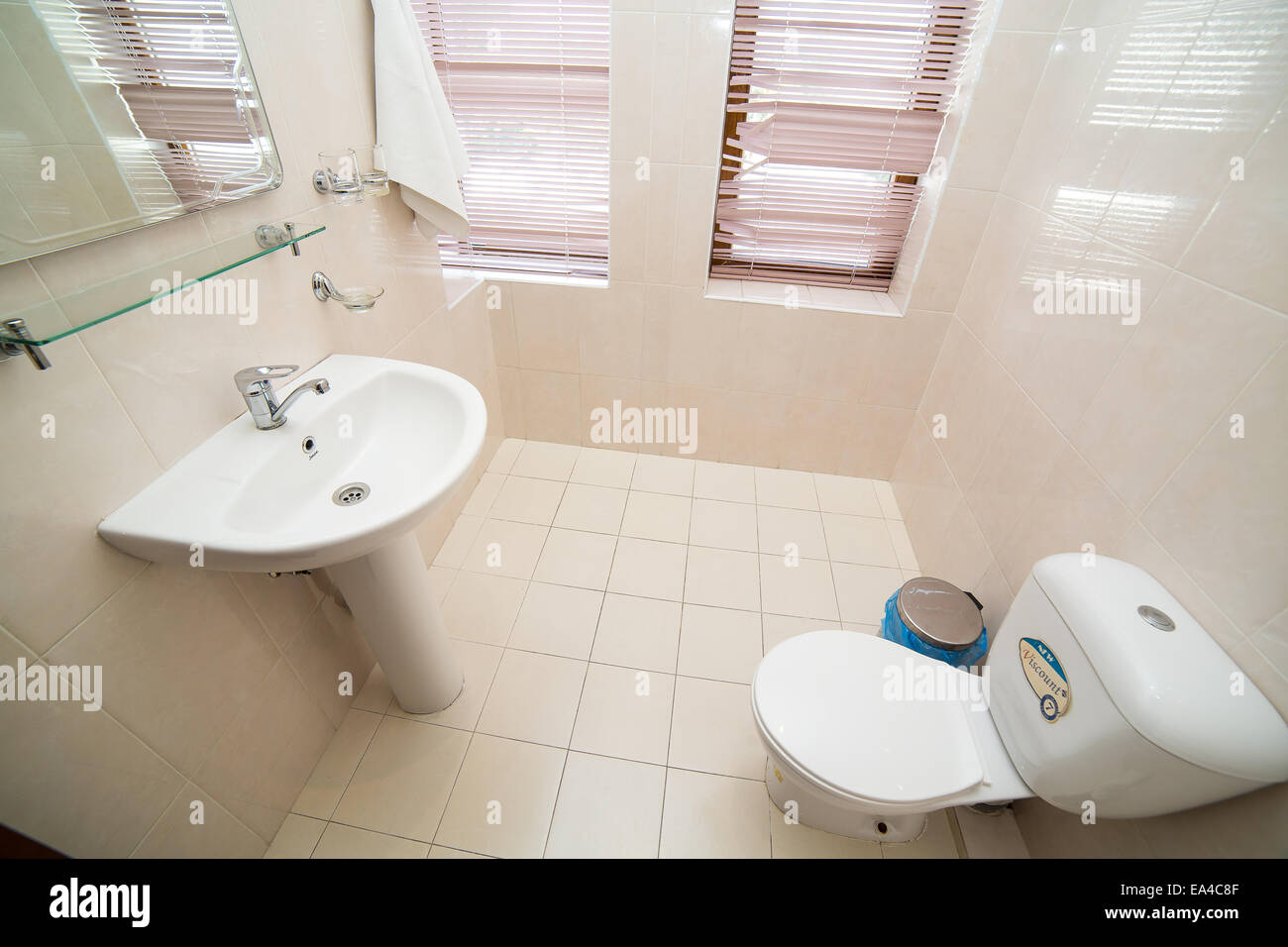 Bathroom, WC, toilet, lavatory room interior design Stock Photo ...