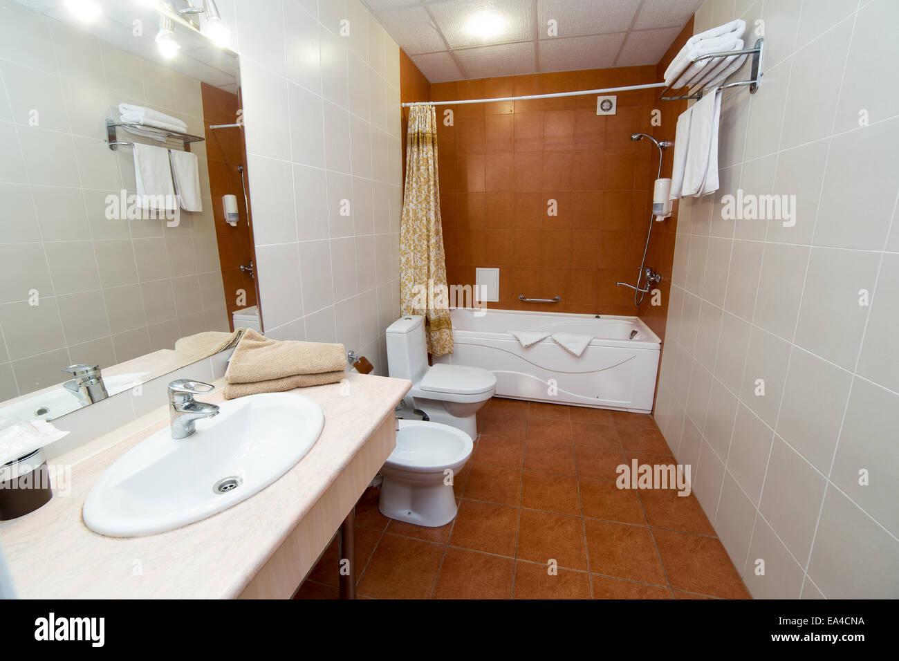 Bathroom, WC, toilet, lavatory room interior design Stock Photo ...