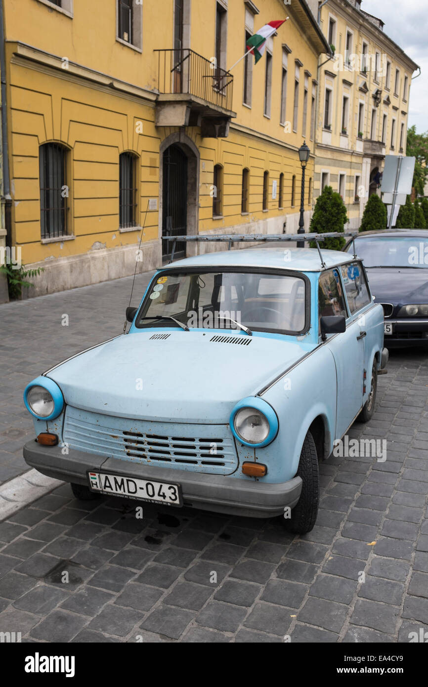 Trabant motorcar parked in the Castle District of Budapest, Hungary. - Stock Image