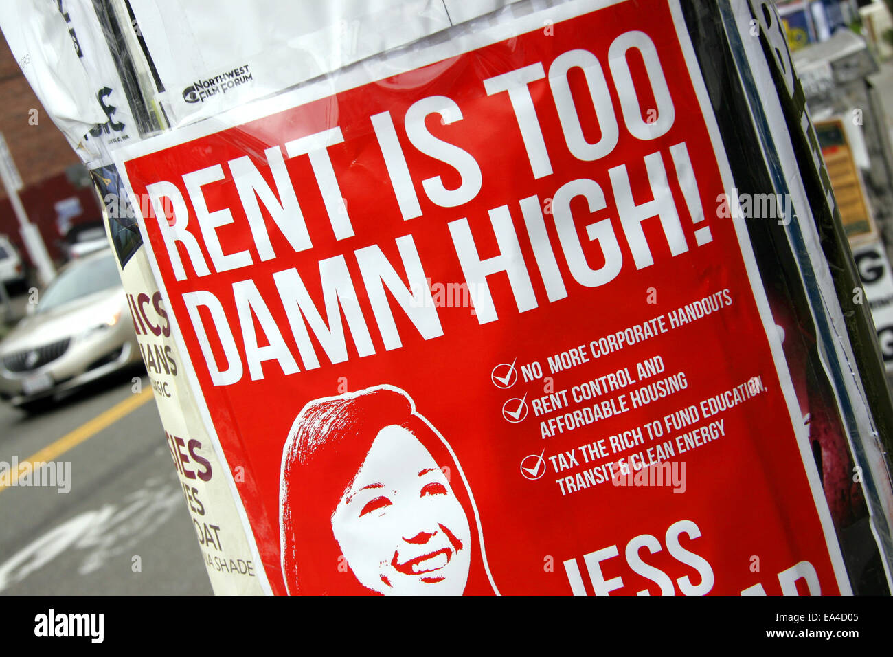 Rent is too damn high! Poster in Seattle, USA - Stock Image
