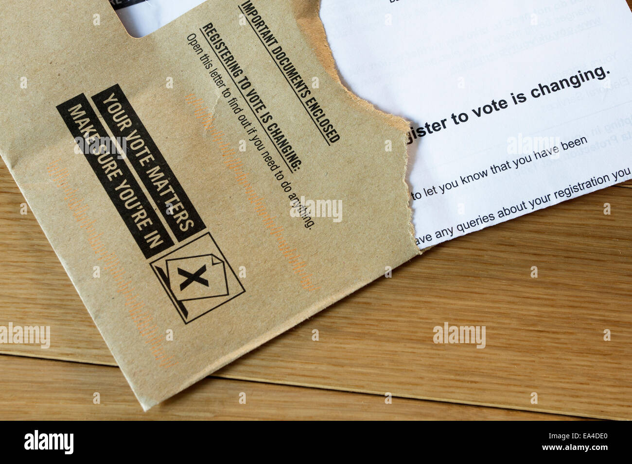 Letter and envelope informing of changes of right to postal vote. - Stock Image