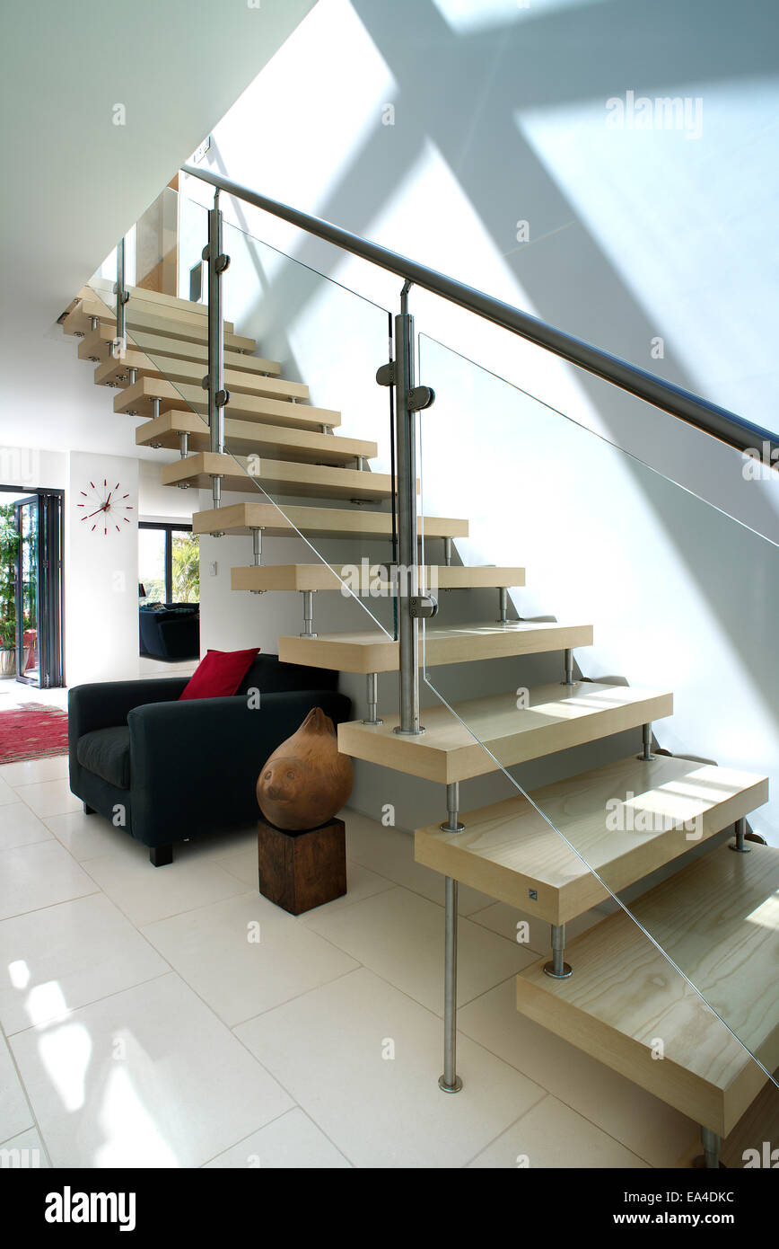 Open Plan Staircase And Hallway In Residential House Uk Stock Photo