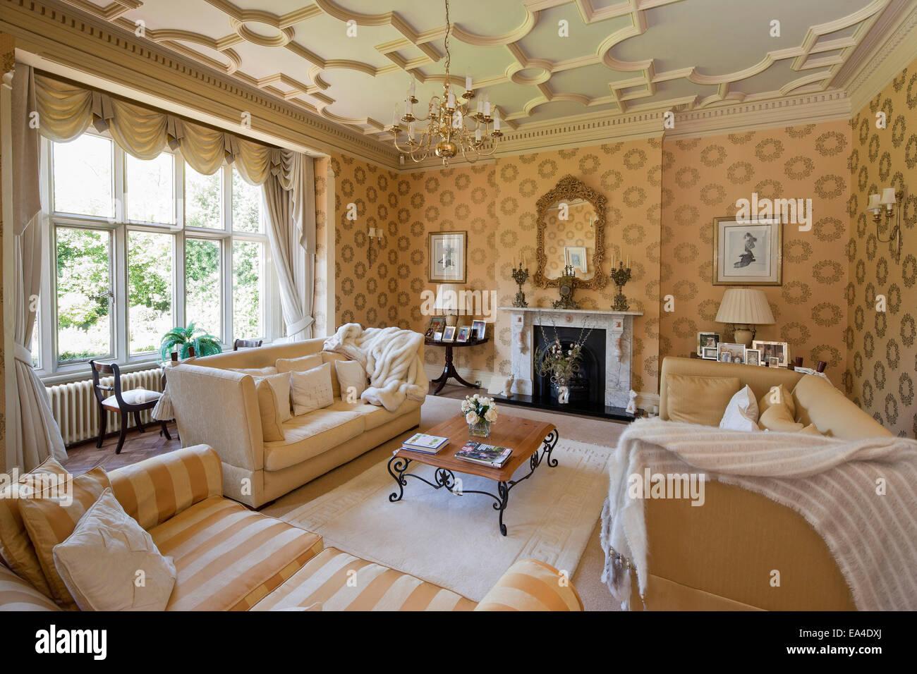 Wonderful Cream Living Room With Plasterwork Ceiling In Hargreaves House, Nottingham,  UK.