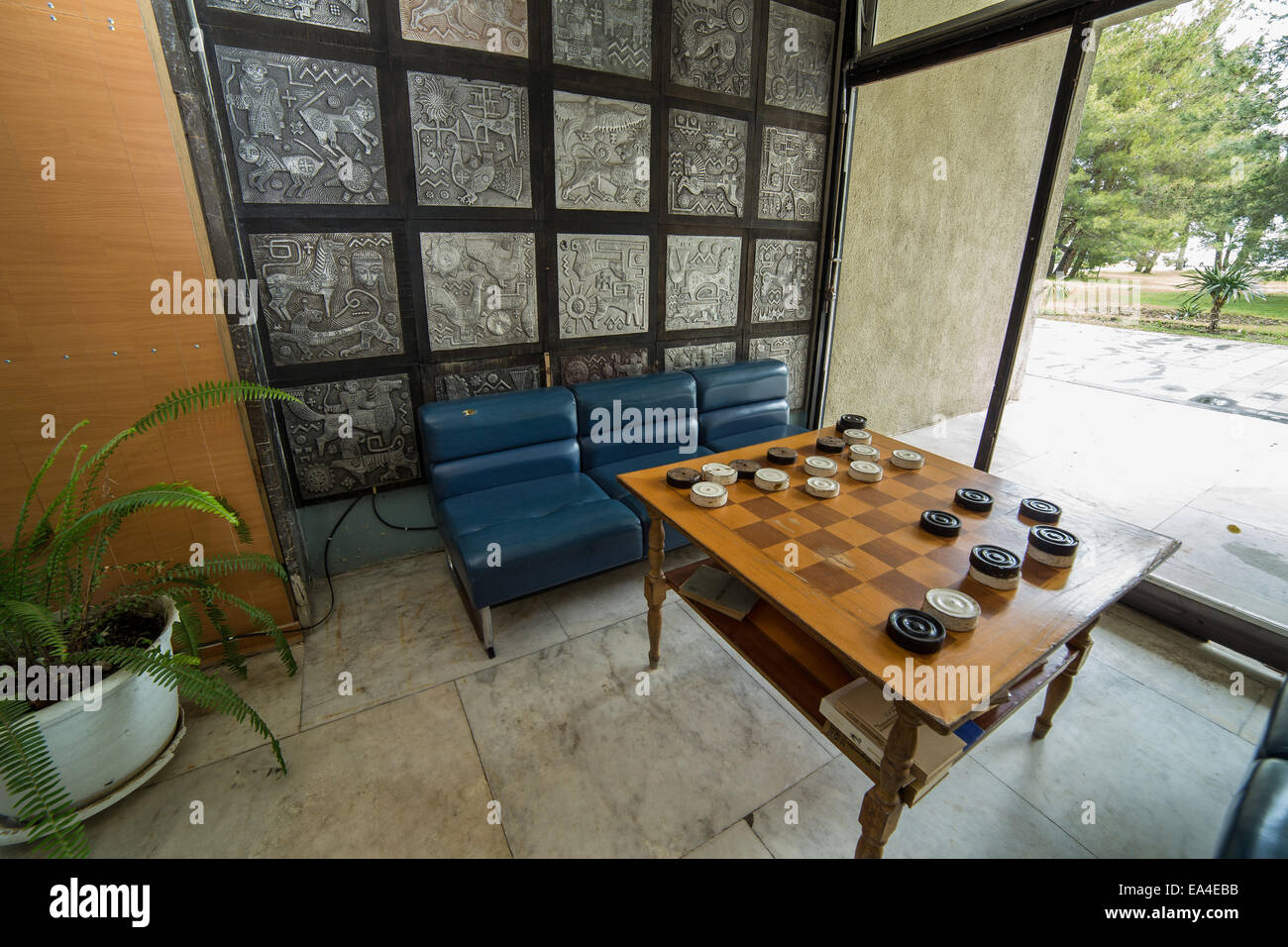 Table for draughts (checkers) game Stock Photo