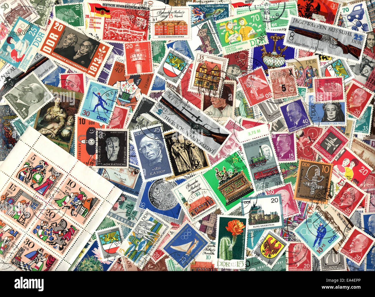 background of the postage stamps issued in east germany gdr stock