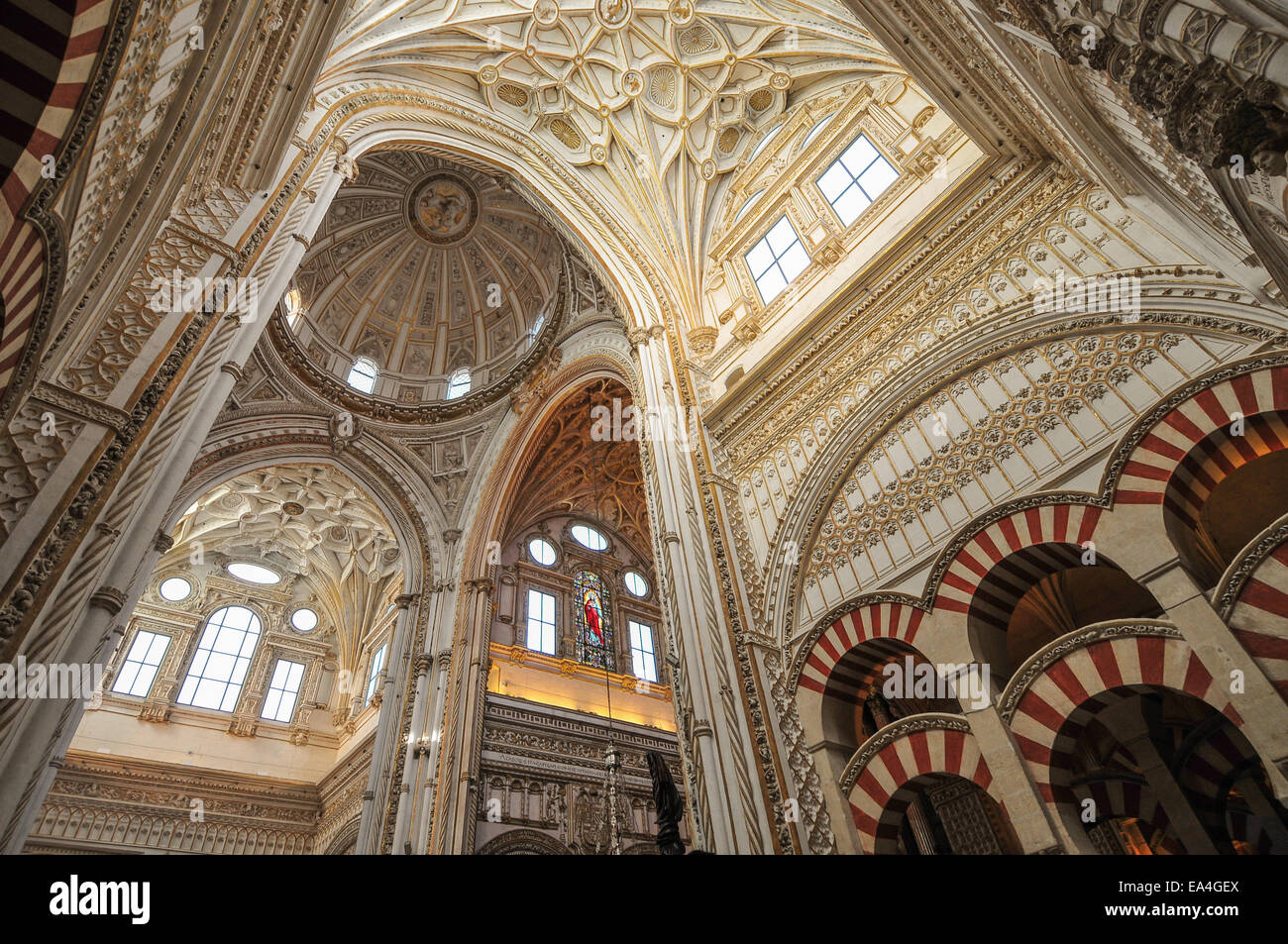 the inside of the mosque cathedral of cordoba in spanish stock