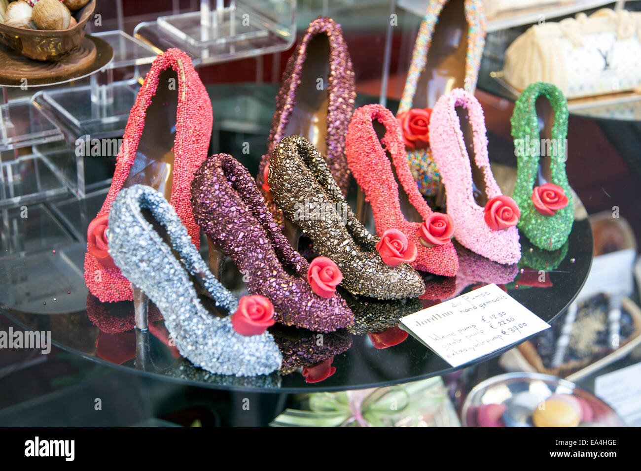 High heel shoes made of chocolate at a specialist shop in Amsterdam, Holland - Stock Image