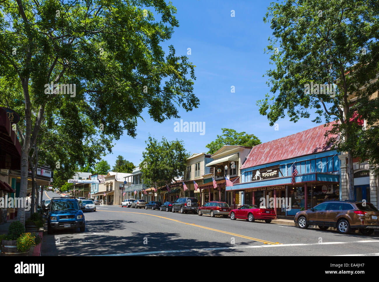 Main Street in the old gold mining town of Angels Camp, Calaveras County, Southern Gold Country, California, USA - Stock Image