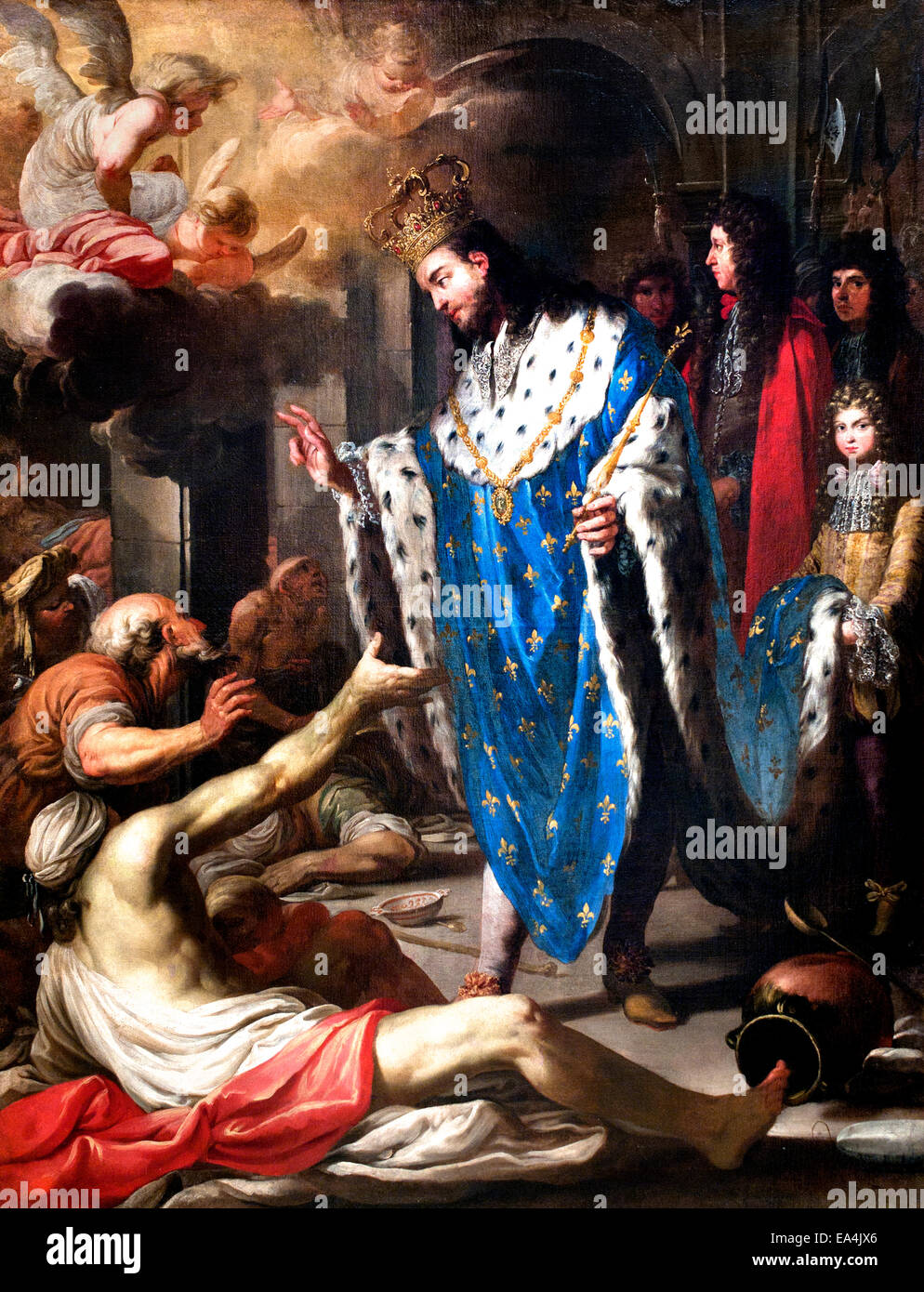 Saint Louis visiting the Poor 1680 French School France - Stock Image