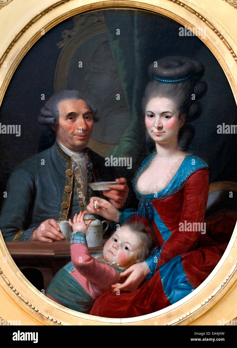 Portrait of Mr Barety and his Family Per Eberhard Cogell 1734 - 1812 Swedish Painter Sweden - Stock Image