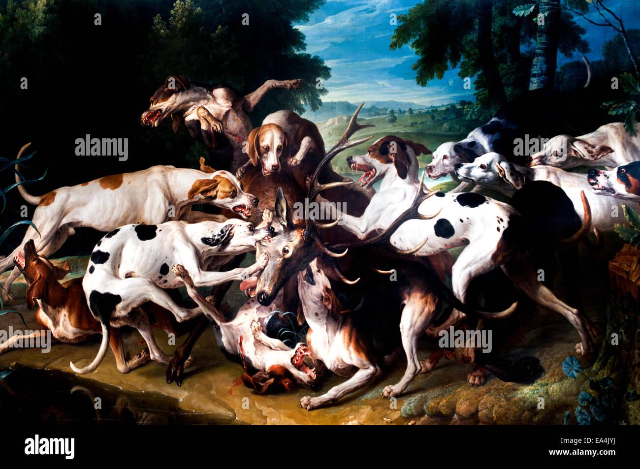 Cerf aux abois atteint par la meute - A stag at bay reached by pack Alexandre François Desportes 1661-1743 - Stock Image