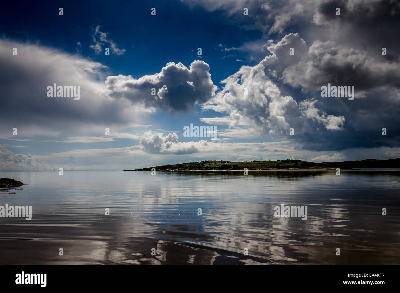 The Bay looking over the Solway Firth to Cumbria from Kipford, Scotland - Stock Image
