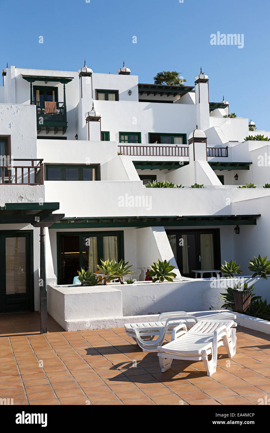 White Painted Holiday Apartments Puerto Del Carmen, Lanzarote, Canary  Islands, Spain   Stock
