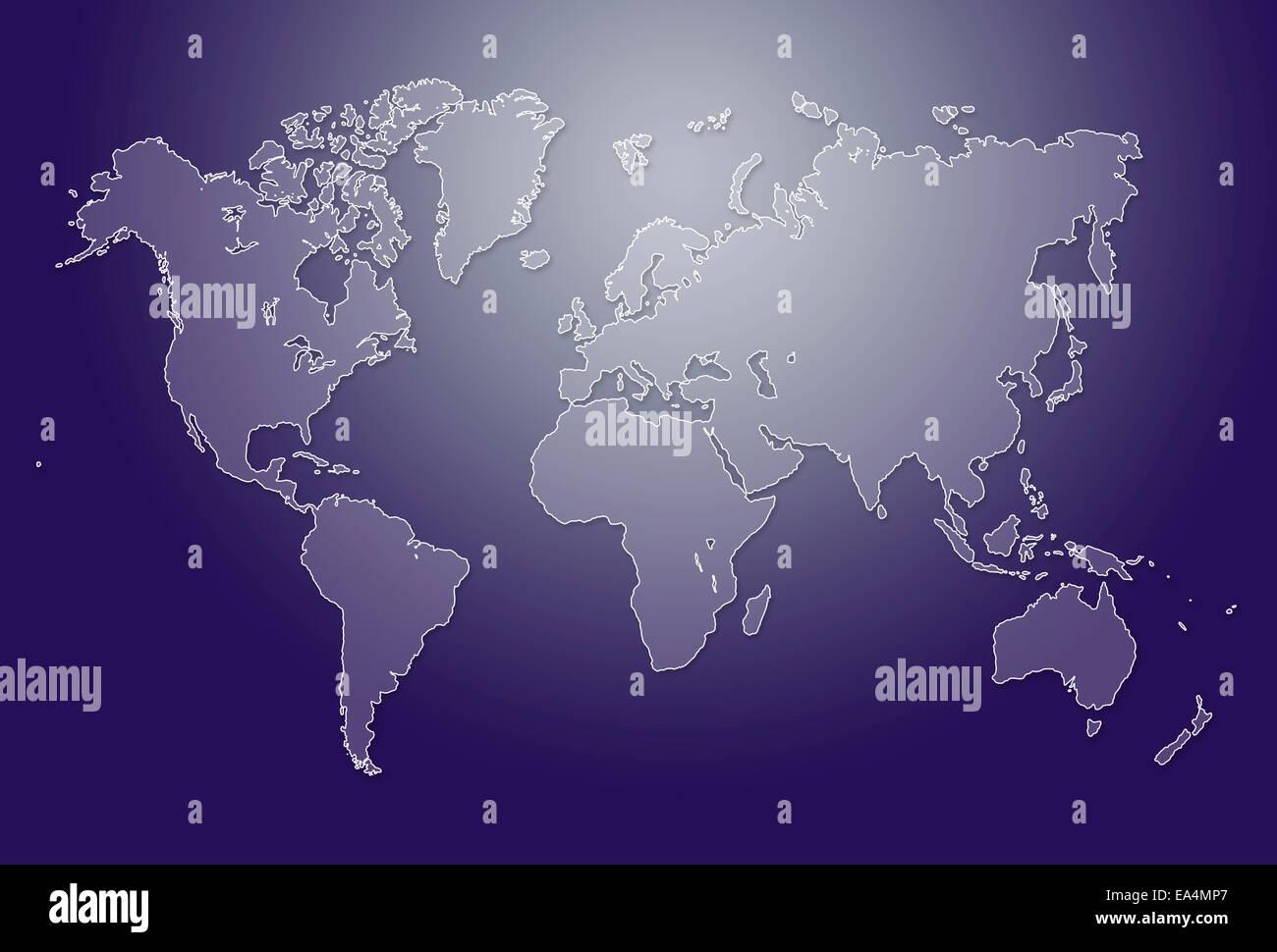 Image of modern world map illustration - Stock Image