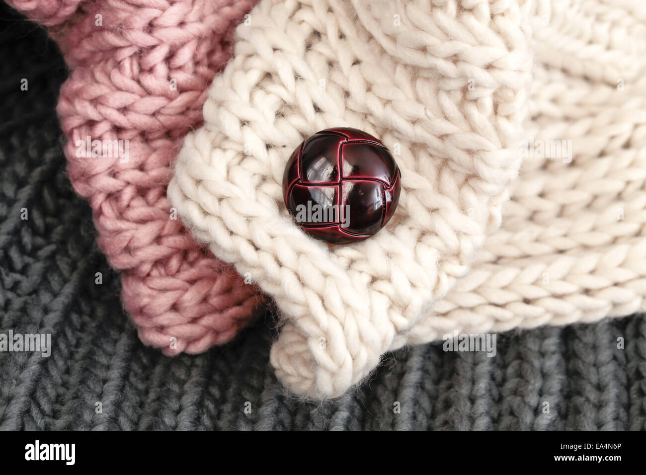 Folded wool scarf with a toggle - Stock Image