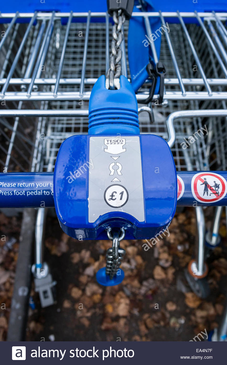 tesco Supermarket Trolley with coin lock - Stock Image