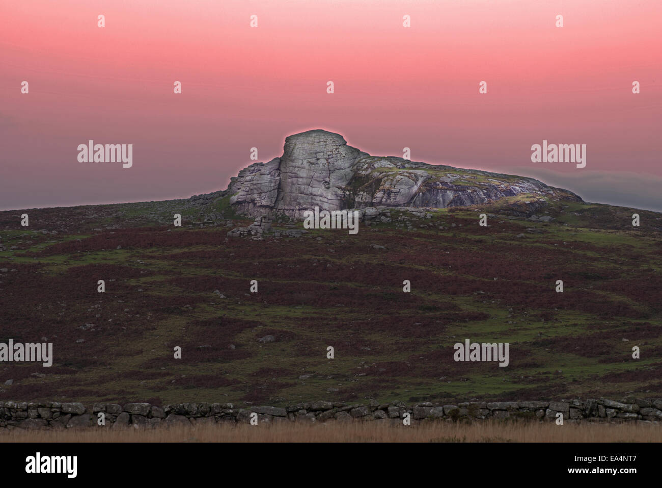 Haytor at sunset, also known as Haytor Rocks  Heytor or Hey Tor. Dartmoor National Park, South ,Devon, England, - Stock Image
