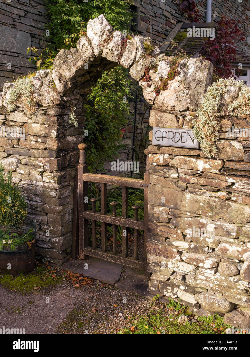 Old Slate Stone Wall With Archway Over Wooden Gate Into Garden   Stock Image