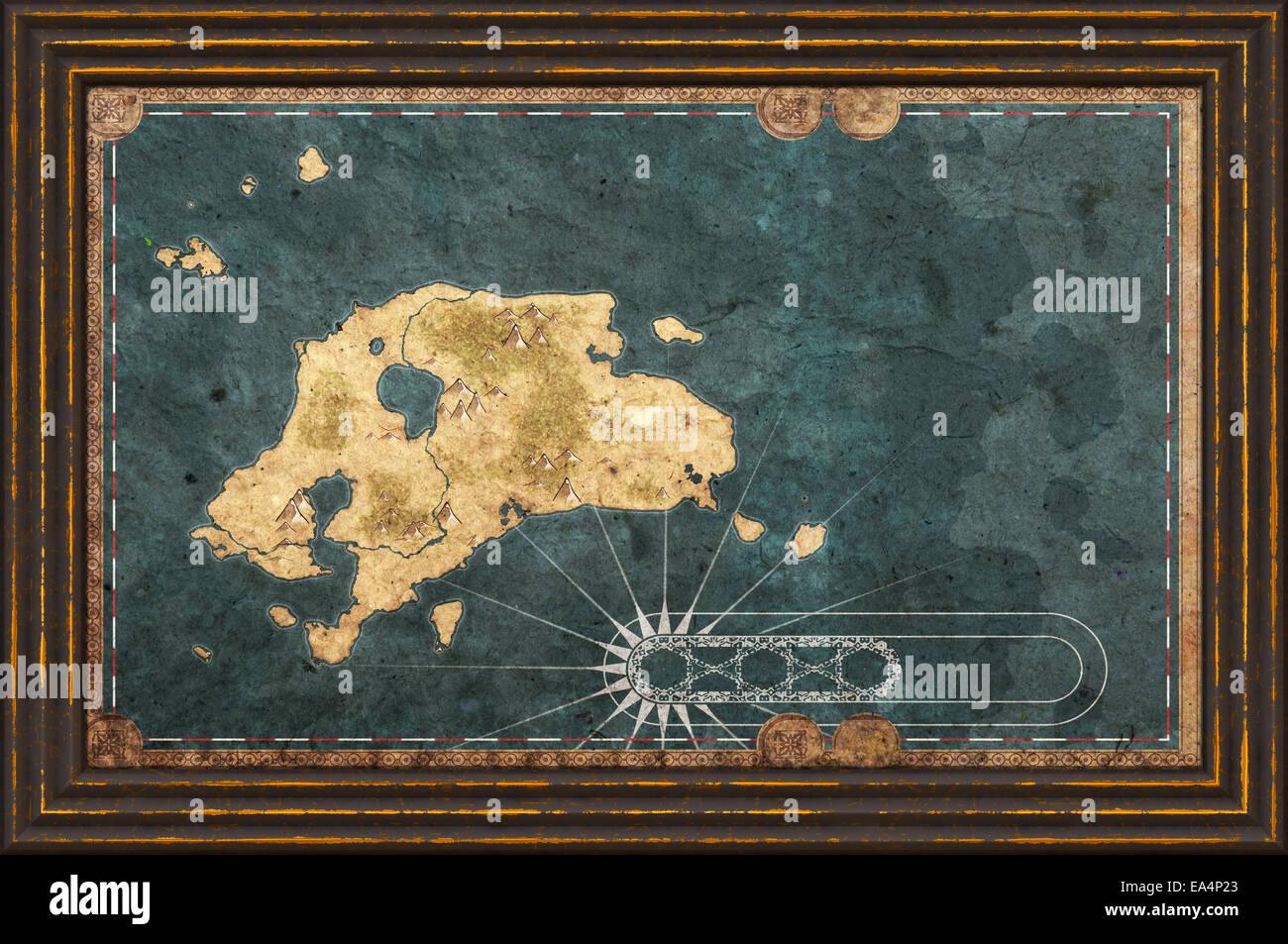 Old textured fantasy map of an island in a frame Stock Photo ...