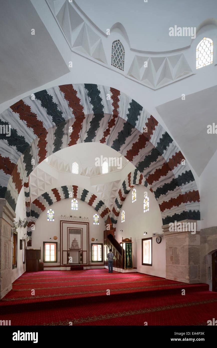 main prayer hall of Bayezid Pasha mosque, Amasya, Turkey - Stock Image