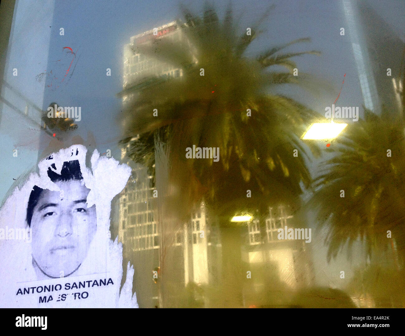 Mexico city, Mexico. 6th November, 2014. A portrait of missing student Antonio Santana is displayed  in Reforma Stock Photo