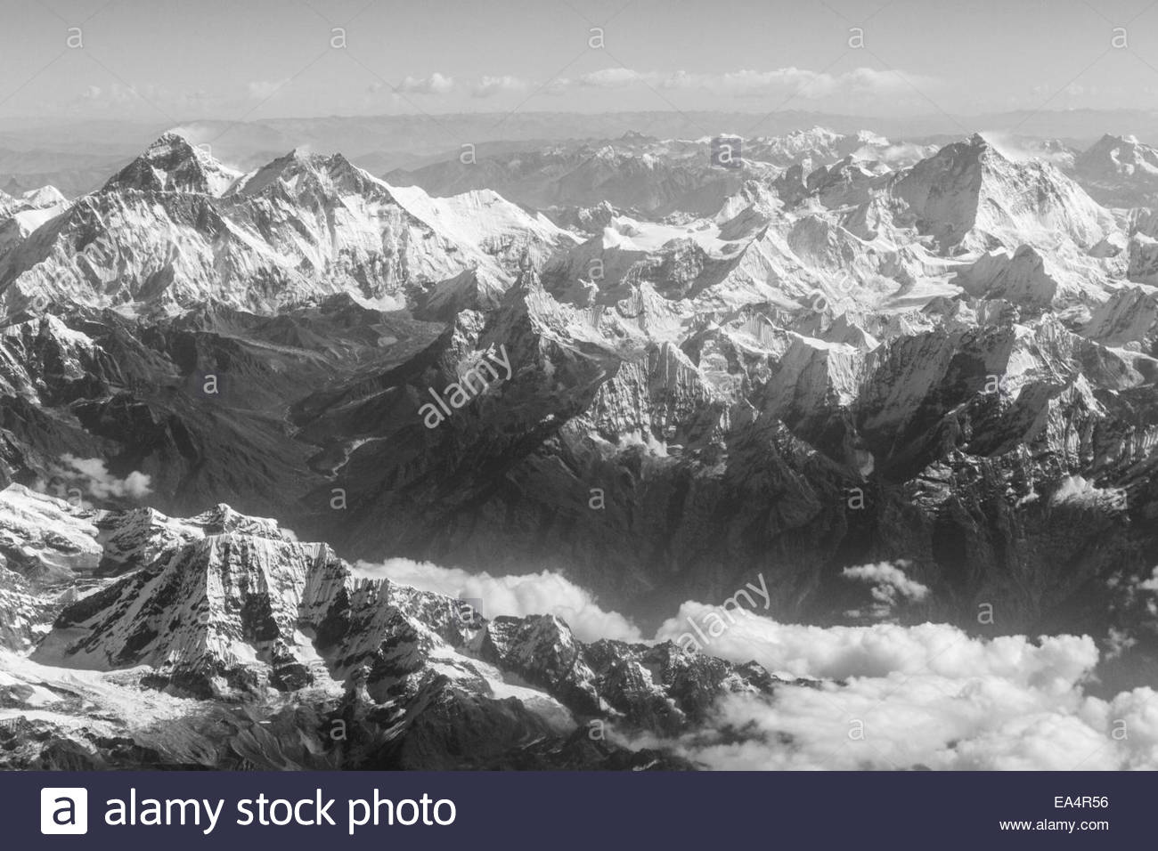 Aerial View of Mount Everest and Surround Himalayan Peaks - Solukhumbu Region - Nepal - Stock Image