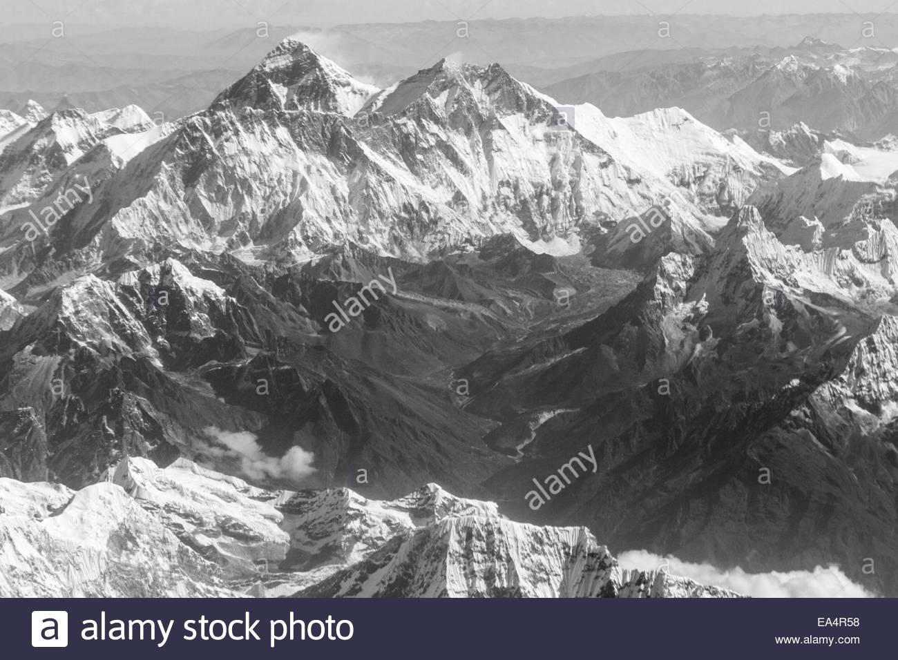 View of Himalayan Ranges - India - Stock Image