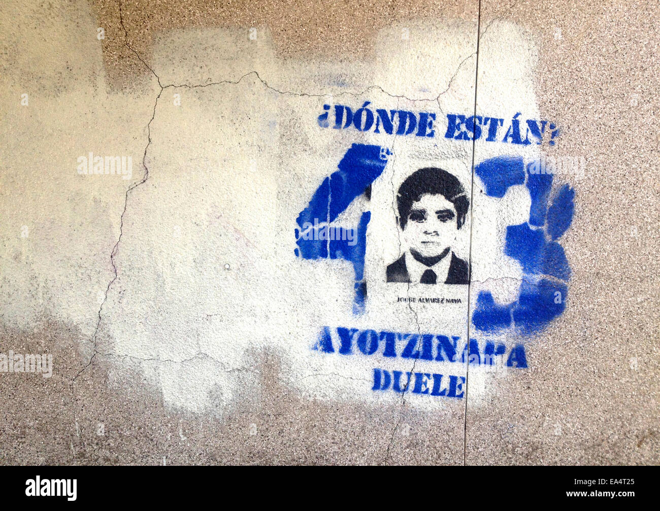 Mexico city, Mexico. 6th November, 2014. A portrait of missing student Antonio Santana is displayed in Reforma Avenue Stock Photo