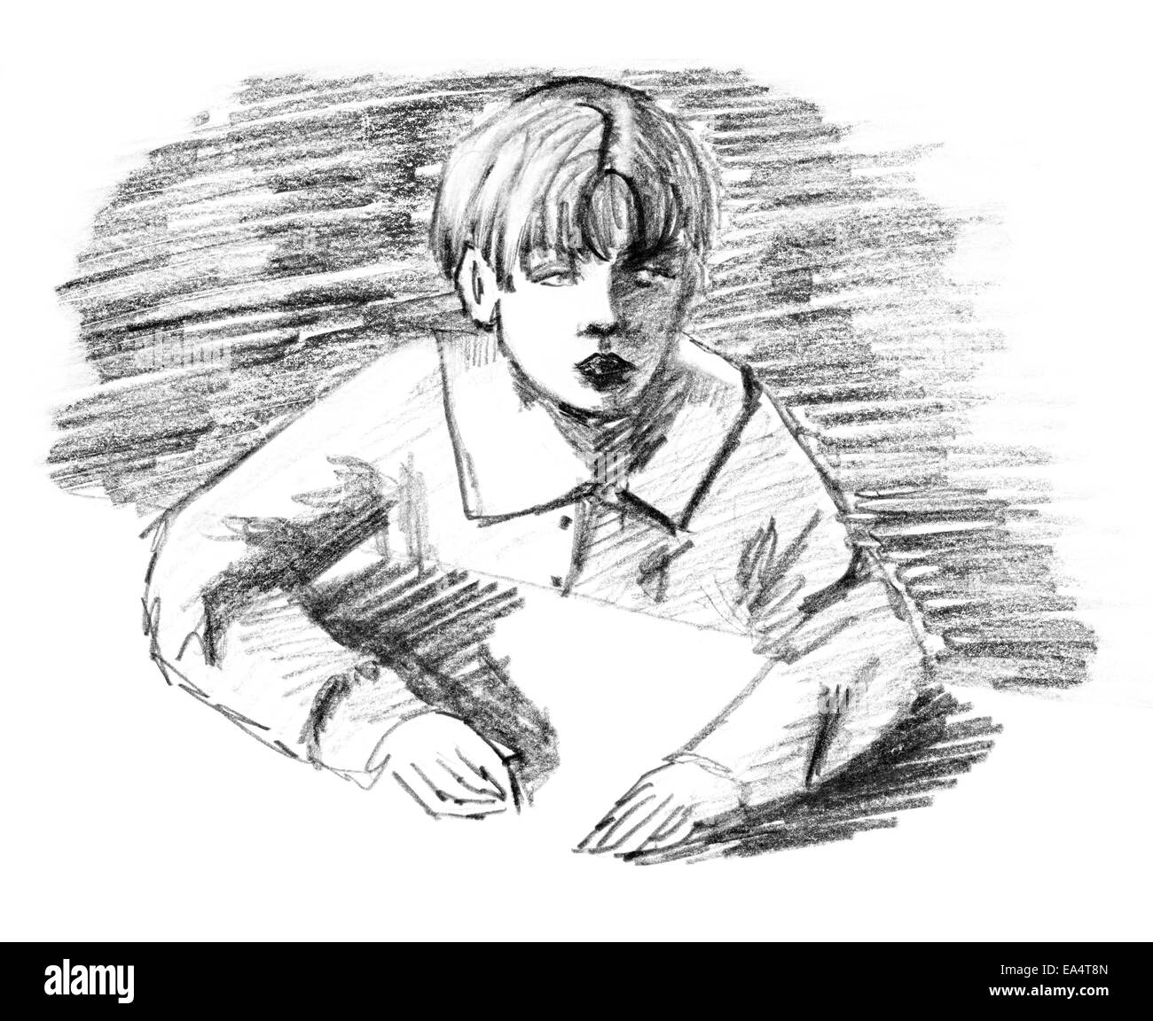 Boy and desk original pencil sketch of ten year old boy sitting by a table