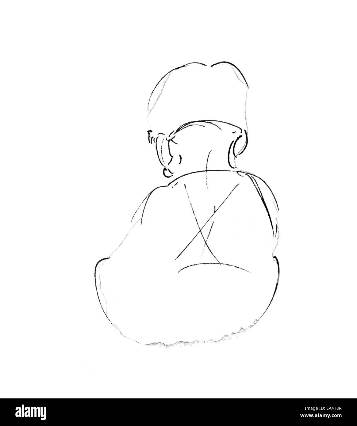 Toddler back original pencil sketch of two year old boy sitting from behind