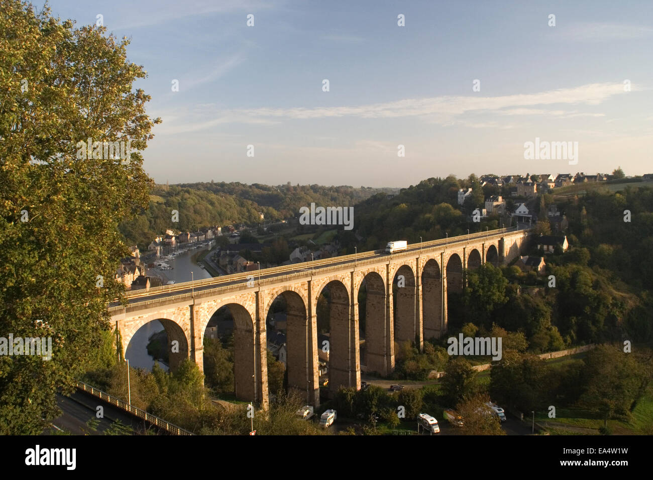 Viaduct over the River Rance, Dinan Stock Photo