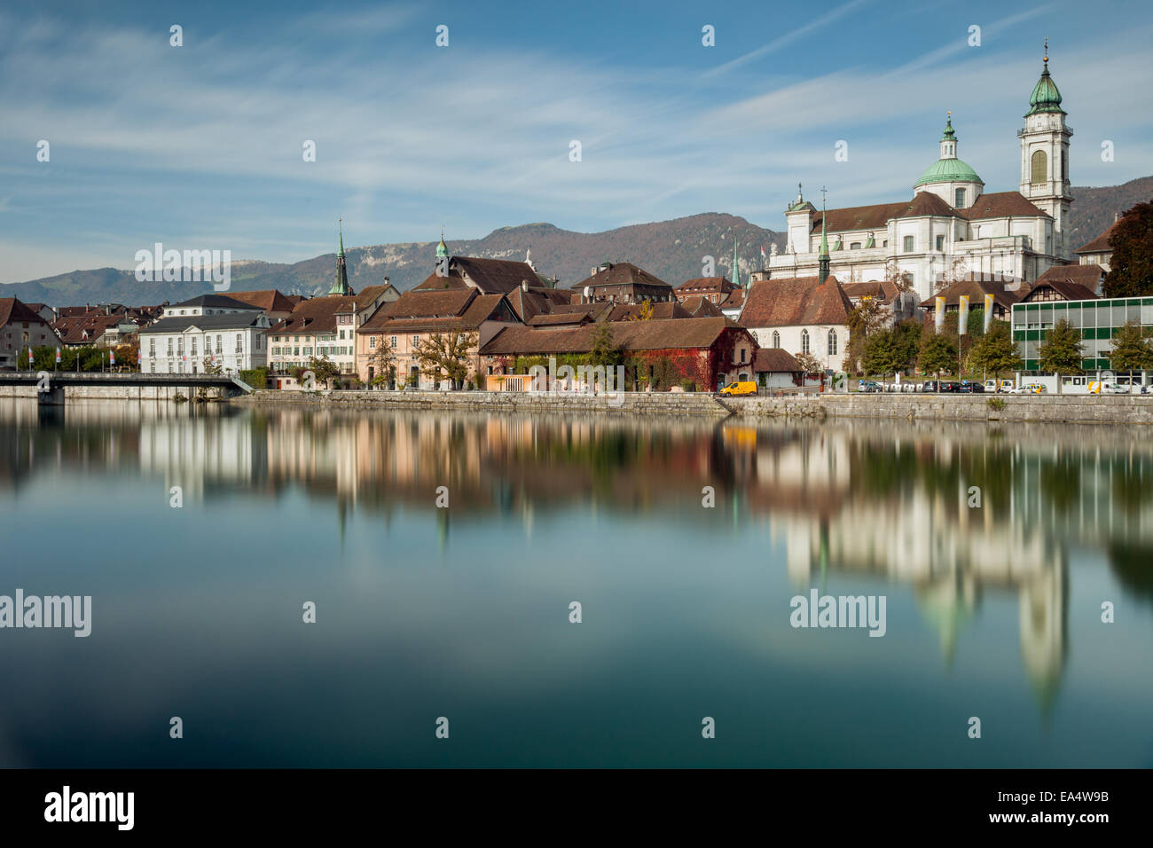 Solothurn old town on Aare river, Switzerland - Stock Image